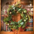 60cm Red Berry and Gold Leaf Christmas Wreath