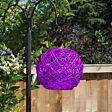 Solar Purple Hanging Rattan Lantern