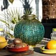 Solar Blue and Gold Moroccan Lantern
