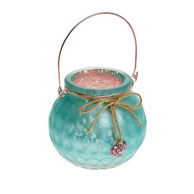 Gardman Jade Green Glass Bowl Candle Holder
