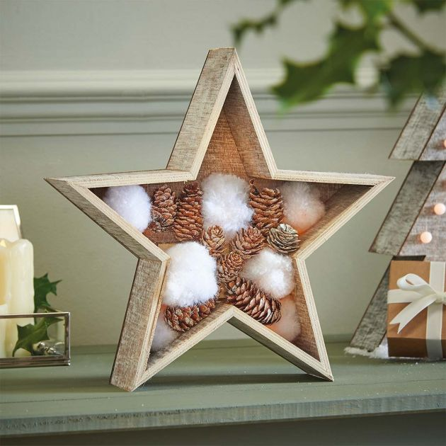 Wooden Battery Light Up Star with Decorations, Warm White LEDs