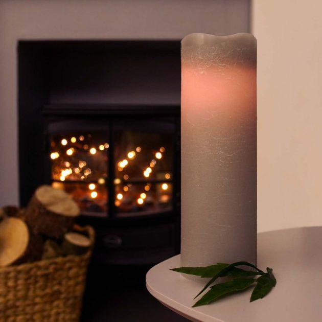 Grey Battery Real Wax Flickering LED Wick Candle, 23cm