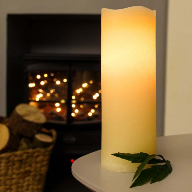 Cream Battery Real Wax Flickering LED Wick Candle, 23cm