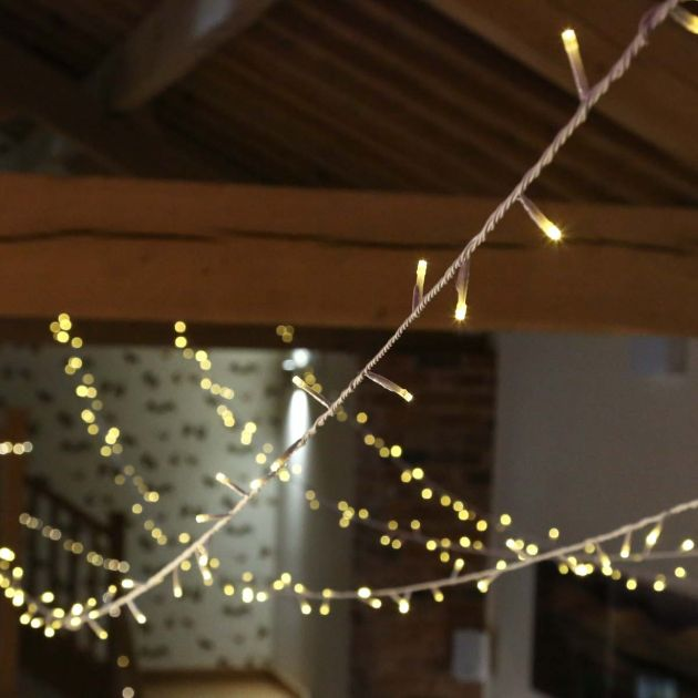 3m Warm White Fairy Lights, Connectable, 30 LEDs, White Cable
