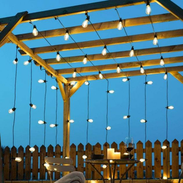 Festoon Lights, Connectable, Clear Filament Style LED S14 Bulbs, Black Cable
