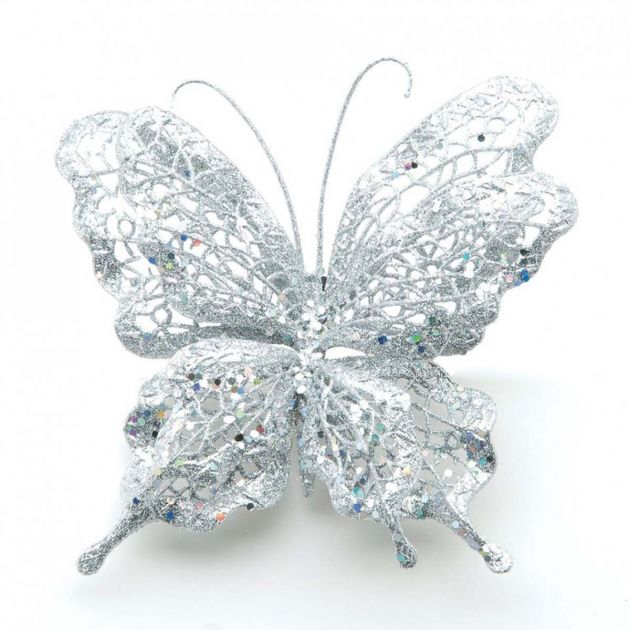 125mm Silver Glitter Butterfly Christmas Tree Decoration