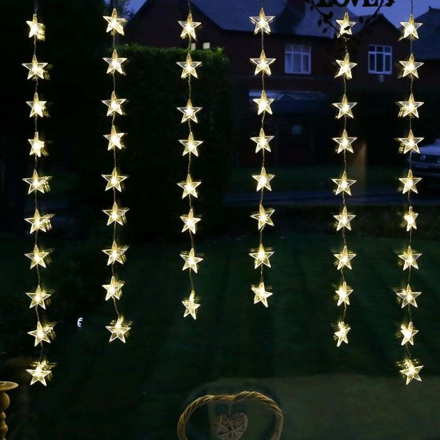 1m x 1m Indoor Christmas Star Curtain Lights, 54 LEDs