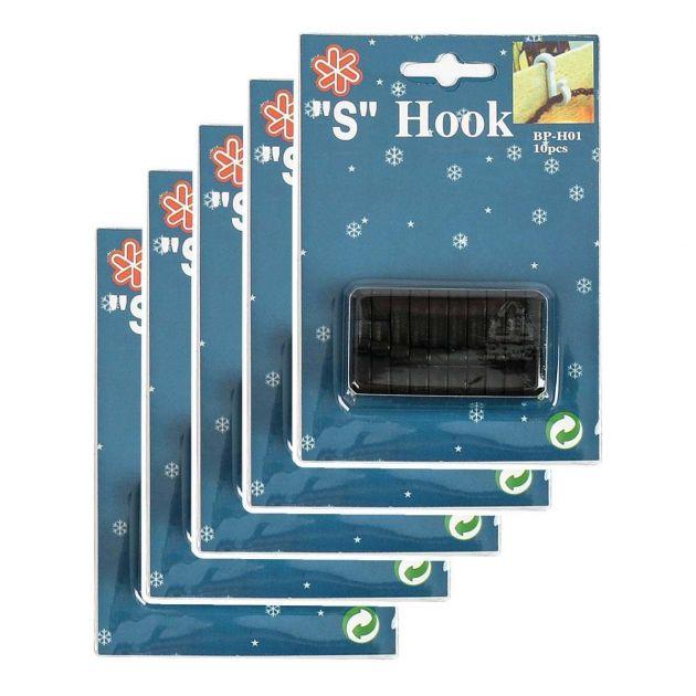 Black 'S' Gutter Hooks for 25 and 30 metre Lights, 50 Pack