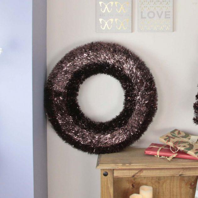 60cm Indoor Brown Tinsel Wreath