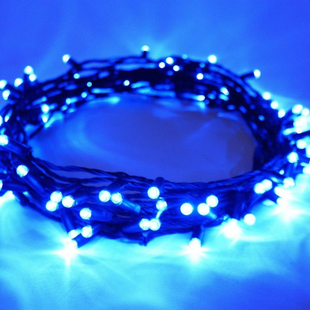 10M Blue Outdoor Christmas String Lights, Connectable, 100 LEDs, Black Rubber Cable