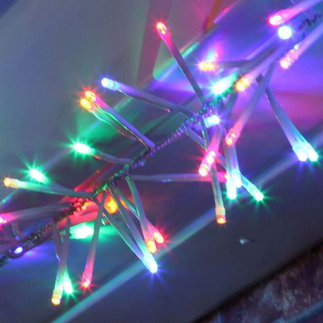 4.5m Multi Colour Cluster Lights, Connectable, 400 LEDs, White Cable