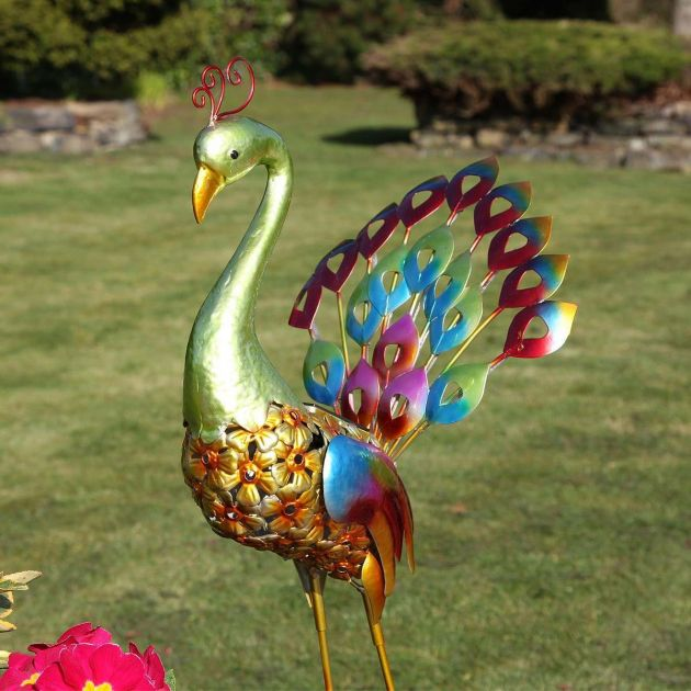 Solar Decorative Garden Peacock Light, 71cm