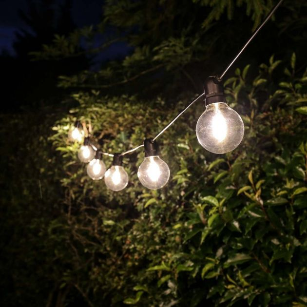 Outdoor Globe Filament Style Festoon Lights, Connectable,  Warm White LEDs