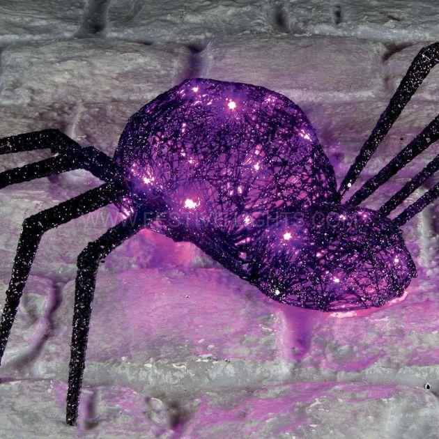35 x 75cm Battery Operated Halloween Black Thread Spider, Purple LEDs