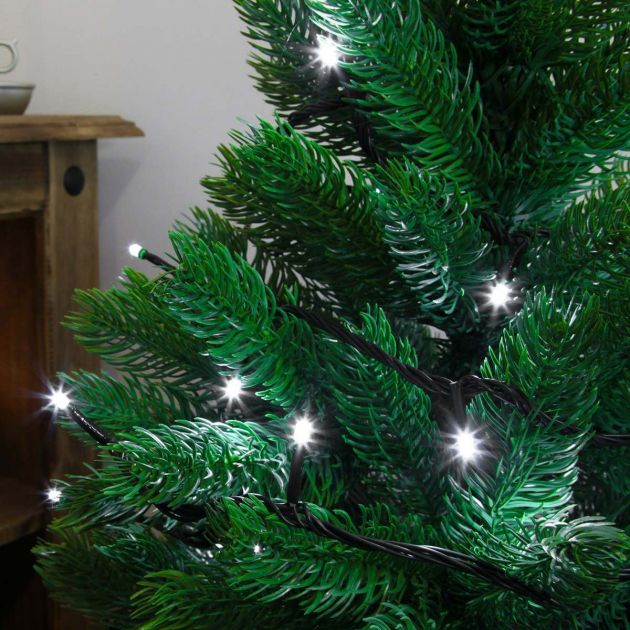 10M White Indoor Christmas Tree Lights, 100 LEDs, Green Cable