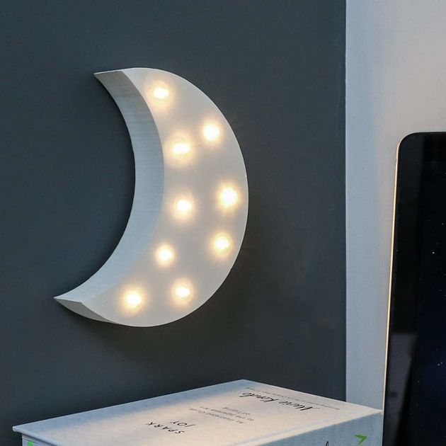 Wooden 'Moon' Battery Light Up Circus Letter, Warm White LEDs, 16cm