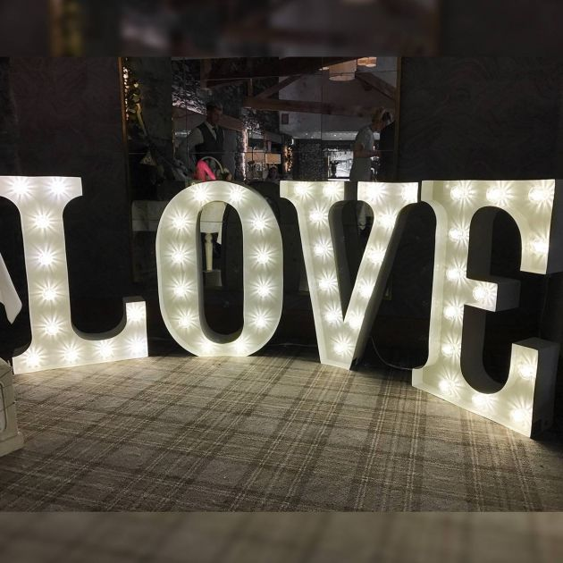 Large Individual Metal LOVE Circus Letters, 49 Warm White Bulbs, 10 x 3ft