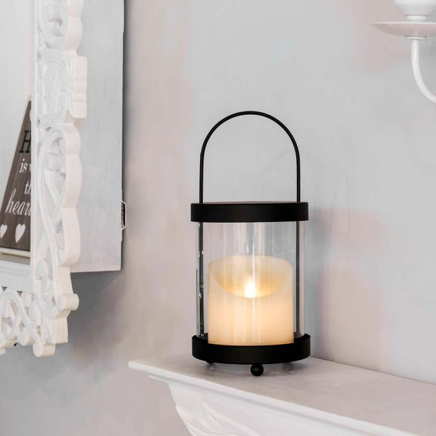Battery Black Lantern with Dancing Flame Candle, 23cm
