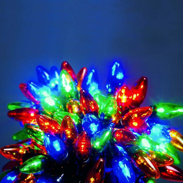 12m Outdoor C6 Christmas String Lights, 120 Multi Colour LEDs
