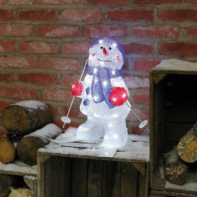 Outdoor Snowman on Skis Acrylic Christmas Figure, 48 White LEDs