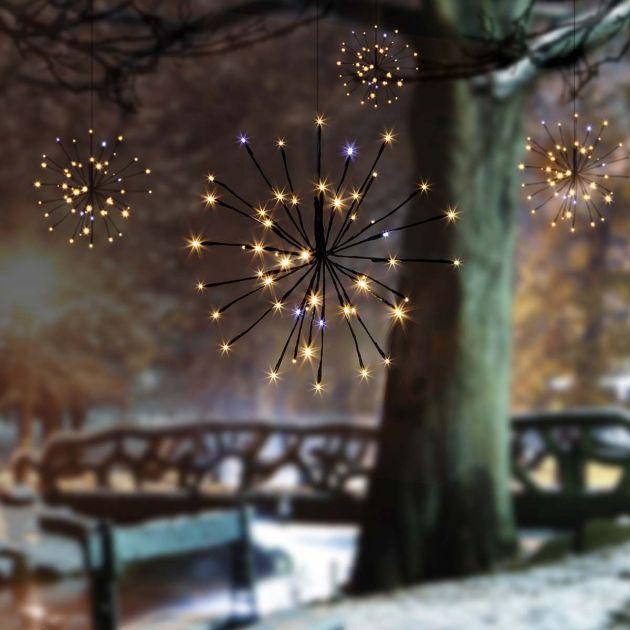 Outdoor Starburst Christmas Decoration Light, 200 Warm White Flash Bulb LEDs, 4 Pack