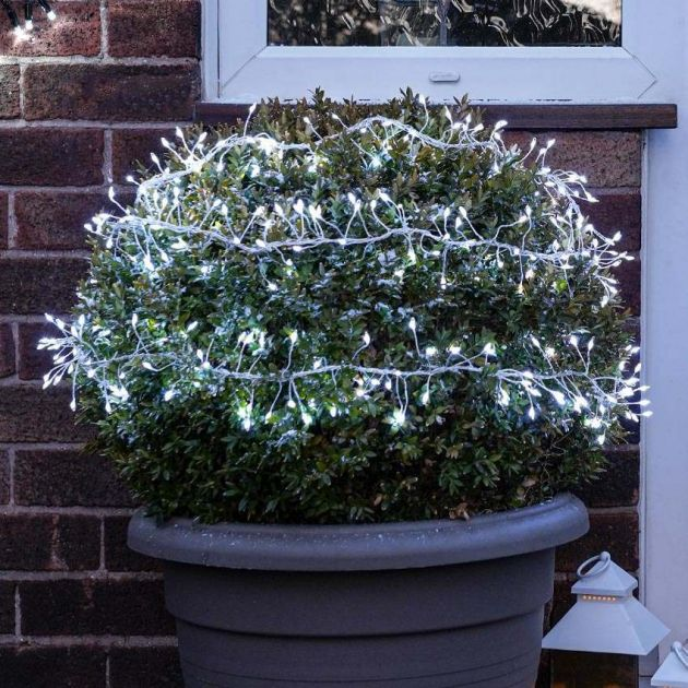 3m Outdoor Christmas Tree Silver Firefly Wire Cluster Lights, 360 White LEDs
