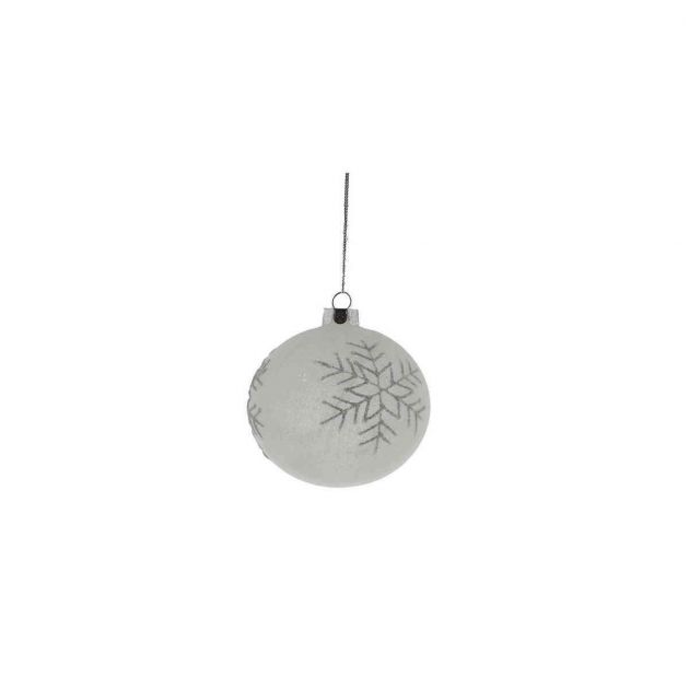 8cm White Snow with Snowflakes Glass Christmas Tree Bauble