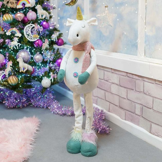 86cm White Extendable Unicorn Christmas Decoration