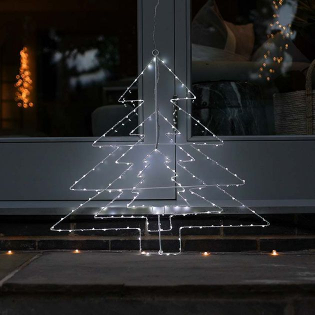 64cm Hanging Firefly Christmas Tree Silhouette, 169 White Flashing LEDs