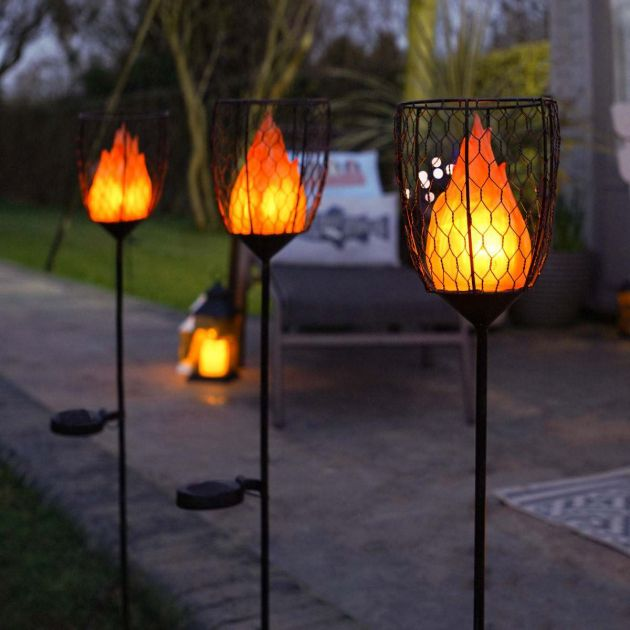 Solar Flame Stake Light