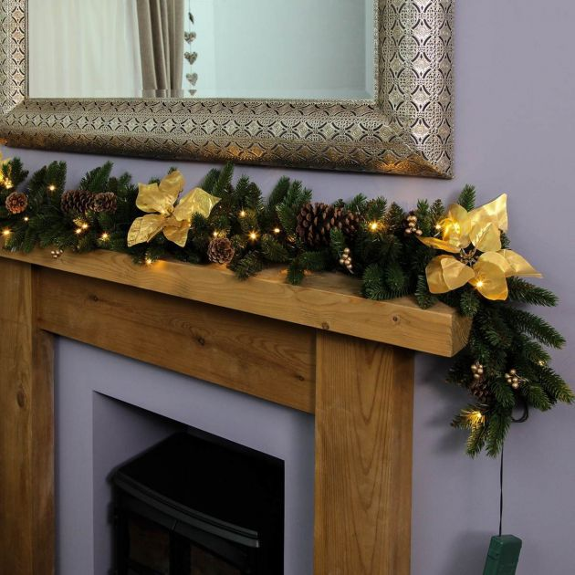 1.8m Outdoor Battery Pre Lit Garland with Gold Poinsettias