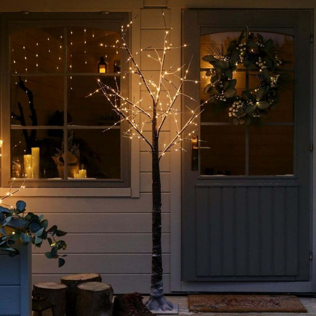 6ft Outdoor Snow Effect Twig Tree, 180 Warm White LEDs