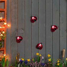 Solar Novelty Ladybird Wall Light, 4 Pack