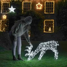 90cm Outdoor Grazing Reindeer Figure, 160 White LEDs