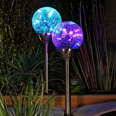 Solar Crackle Ball Stake Lights, 2 Pack