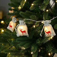 Battery Reindeer Jute Bag Christmas Fairy Lights, 10 Warm White LEDs
