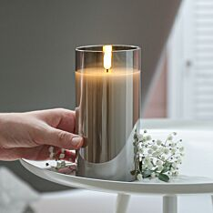 Grey Battery Wax Authentic Flame Candle in Smoked Glass Cylinder, 15cm