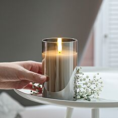 Grey Battery Wax Authentic Flame Candle in Smoked Glass Cylinder, 12.5cm