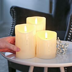 Ivory Battery Real Dripping Wax Authentic Flame LED Candle, 3 Pack