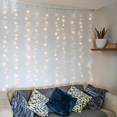 2m x 3m Connectable Silver Micro Naked Wire Curtain Lights, 300 Warm White LEDs