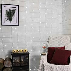 2m x 3m Connectable Curtain Lights, 300 White LEDs, Clear Cable