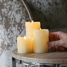 3 Battery Operated Flickering Wax Pillar LED Candles