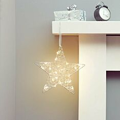 Battery Beaded Star Hanging Christmas Decoration