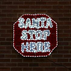 84cm Outdoor Santa Stop Here Tinsel Christmas Silhouette, 312 White LEDs
