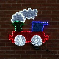 84cm Outdoor Train Tinsel Christmas Silhouette, 252 Multi Colour LEDs