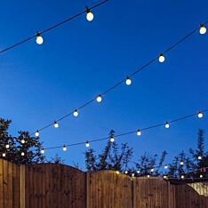 Outdoor Festoon Lights, Connectable, Frosted Bulbs, Black Cable