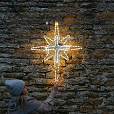 95cm Aluminium Outdoor Rope Light Christmas North Star Motif, Twinkle LEDs