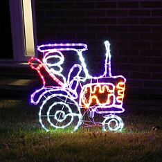 62cm Outdoor Animated Rope Light Christmas Santa on Tractor Silhouette