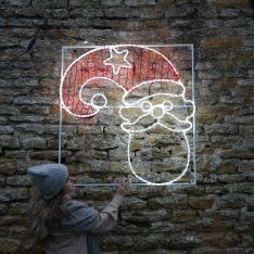 1.1m Large Commercial Outdoor Santa Motif, Static and Flash Bulb