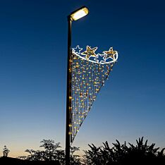 2m Rope Light Christmas Star Commercial Lamp Post Motif, Twinkle LEDs